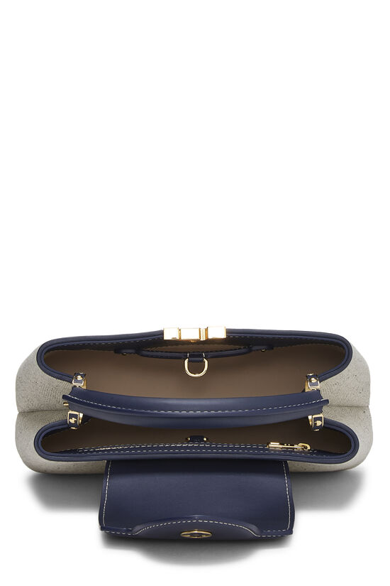 Natural Canvas & Navy Leather Capucines BB, , large image number 6