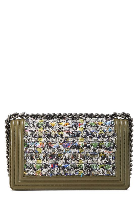 Green Leather & Bouclé Boy Bag Medium, , large image number 4