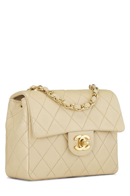 Beige Quilted Lambskin Half Flap Mini, , large image number 1