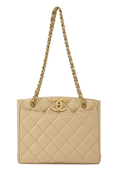 Beige Quilted Caviar Turnlock Tote Small