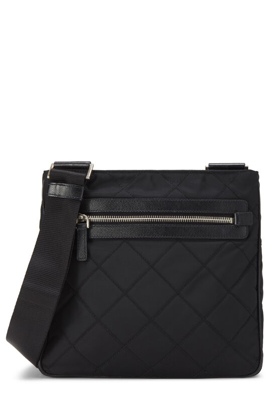 Black Quilted Nylon Flat Crossbody Small, , large image number 0