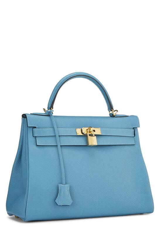 Turquoise Blue Togo Kelly Retourne 32, , large image number 1