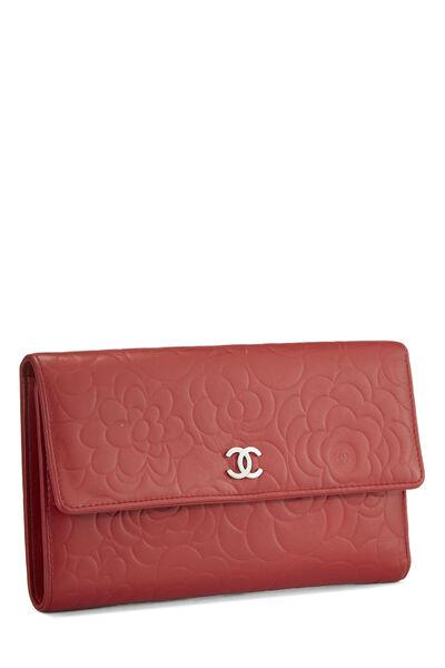 Red Camellia Lambskin Organizer Wallet, , large