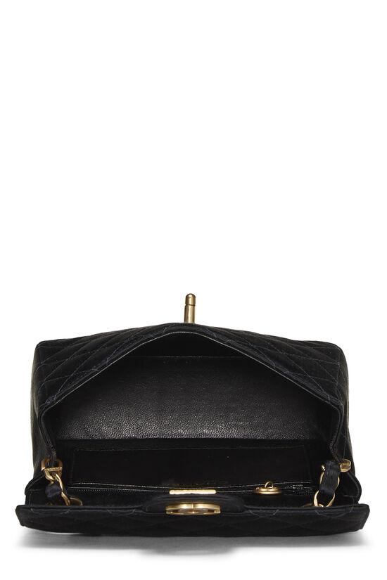 Black Quilted Satin Half Flap Mini, , large image number 5