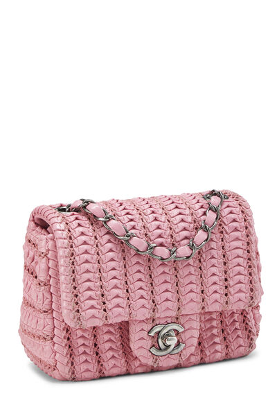 Pink Woven Lambskin Classic Square Flap Mini, , large