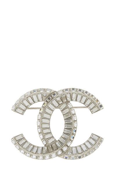 Silver & Crystal 'CC' Pin