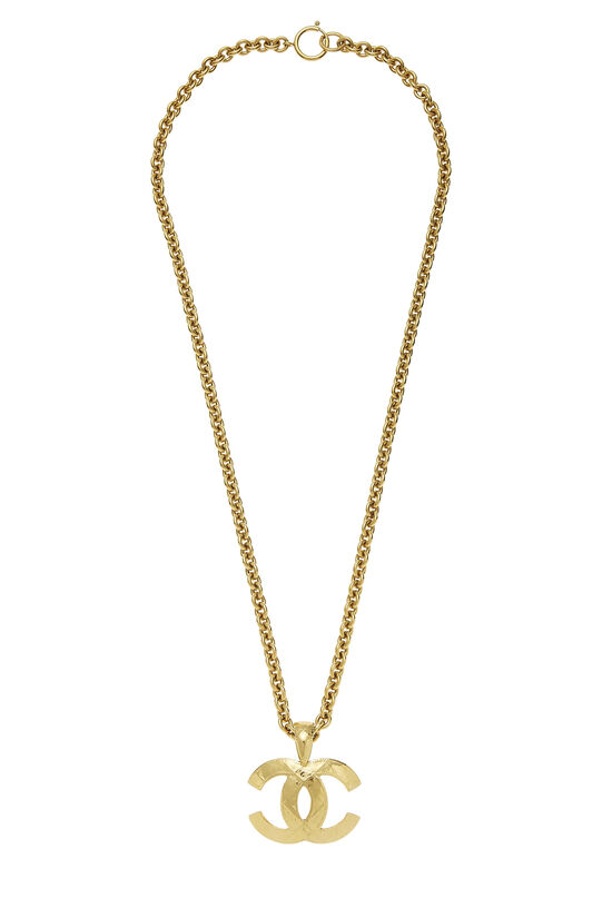 Gold Quilted 'CC' Necklace Large, , large image number 0