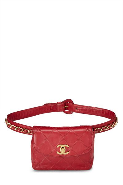 Red Quilted Lambskin Chain Belt Bag Small