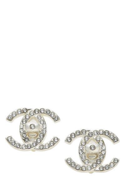 Silver & Crystal 'CC' Turnlock Earrings Large