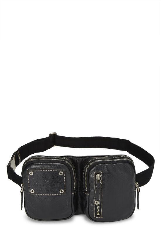 Black Leather Belt Bag, , large image number 0