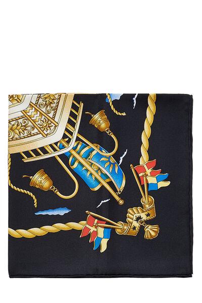 Black & Multicolor 'Railing' Silk Scarf 90, , large