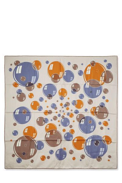 Grey & Multicolor 'Bal des Bulles' Silk Scarf 90