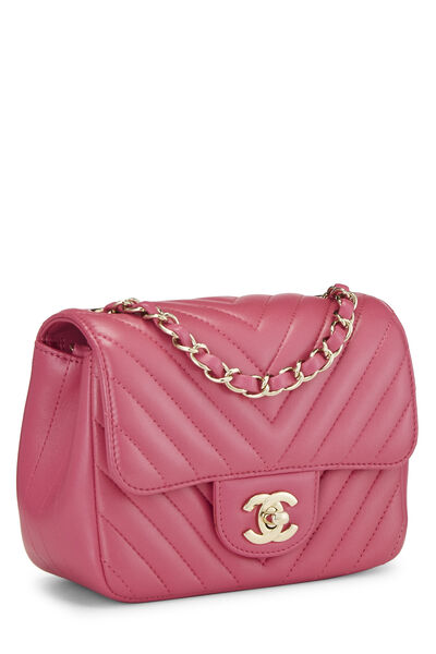 Pink Quilted Lambskin Classic Square Flap Mini, , large
