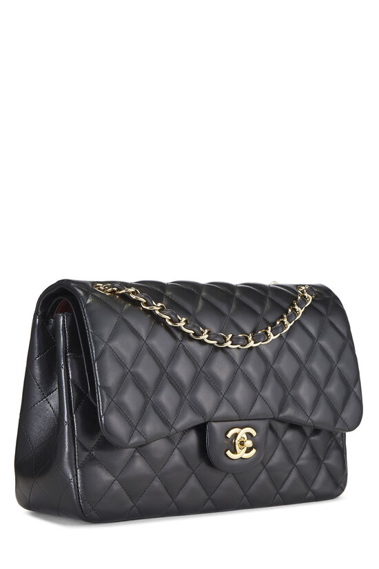 Black Quilted Lambskin New Classic Double Flap Jumbo, , large image number 1