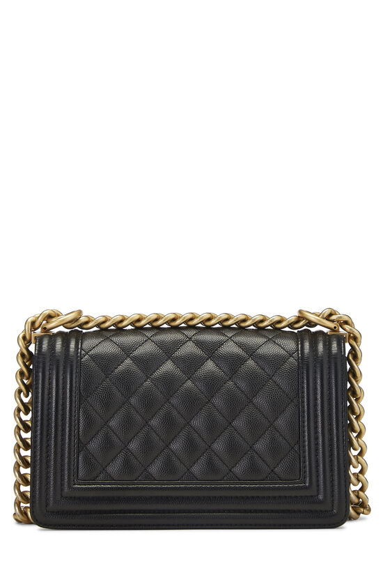 Black Quilted Caviar Boy Bag Small, , large image number 4