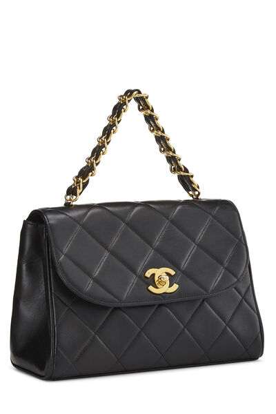 Black Quilted Lambskin Top Handle Bag, , large