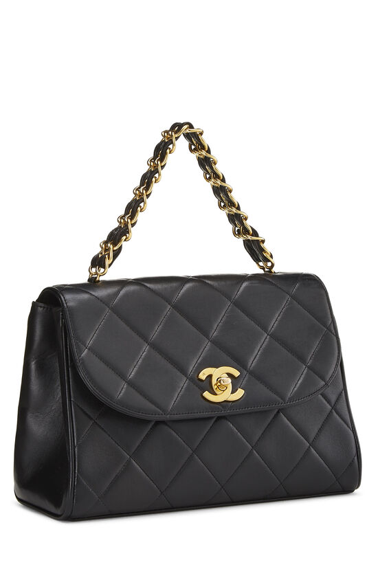 Black Quilted Lambskin Top Handle Bag, , large image number 1