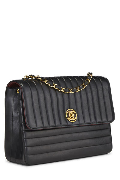 Black Quilted Lambskin Circle Lock Half Flap Small, , large