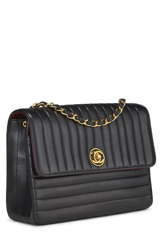 Black Quilted Lambskin Circle Lock Half Flap Small, , large image number 1