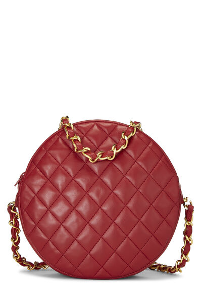 Red Lambskin 'CC' Round Shoulder Bag