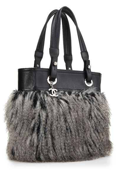 Black Leather & Fantasy Fur Paris Biarritz Tote, , large