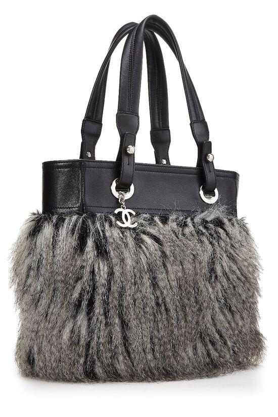 Black Leather & Fantasy Fur Paris Biarritz Tote, , large image number 1