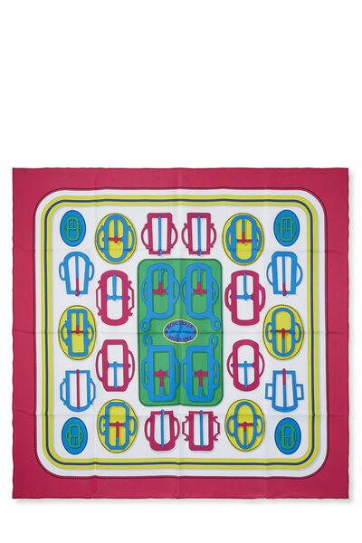 Pink & Multicolor 'Bouclerie Moderne' Silk Scarf 90