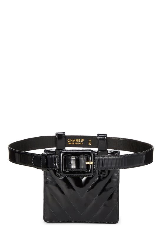 Black Chevron Patent Leather Belt Bag, , large image number 3