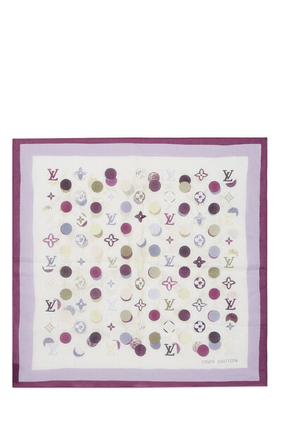 Purple Cotton Monogram Dots Bandana
