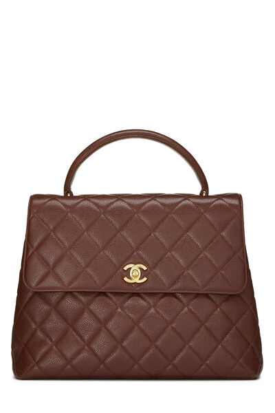 Brown Quilted Caviar Kelly Jumbo