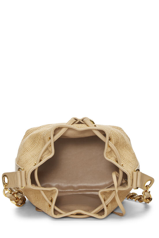 Beige Raffia 'CC' Bucket Bag Small, , large image number 5
