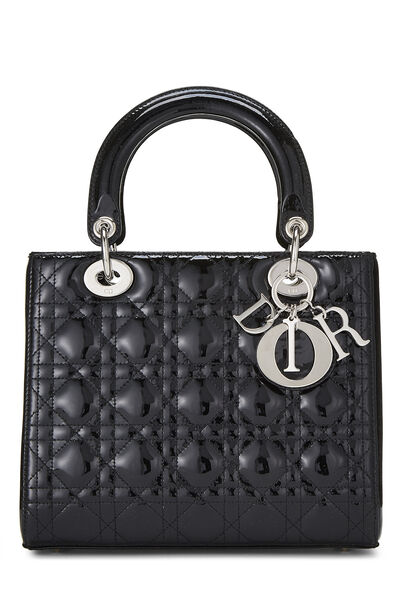 Black Cannage Quilted Patent Leather Lady Dior Medium