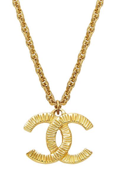 Gold Ridged 'CC' Necklace, , large
