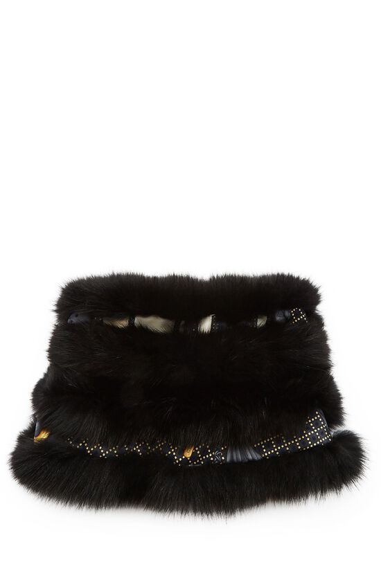 Black Fox Fur Infinity Scarf, , large image number 0