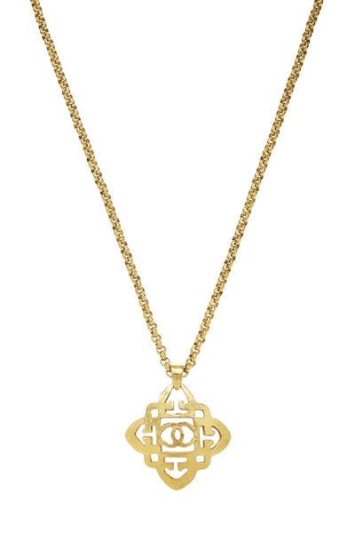 Gold Quatrefoil 'CC' Necklace, , large