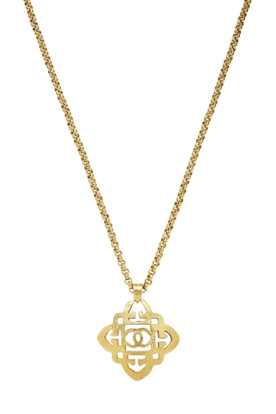 Gold Quatrefoil 'CC' Necklace, , large image number 1