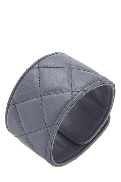 Purple Quilted Leather Turnlock Cuff, , large