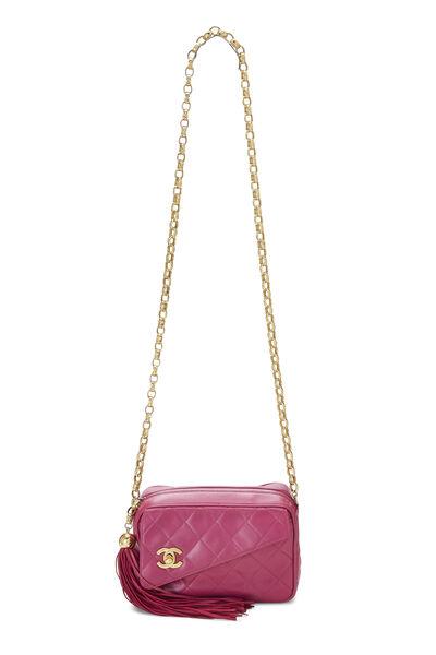 Pink Quilted Lambskin Pocket Camera Bag Mini, , large