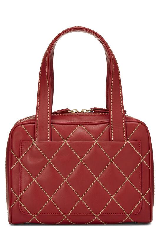 Red Leather Wild Stitch Boston Handbag, , large image number 3
