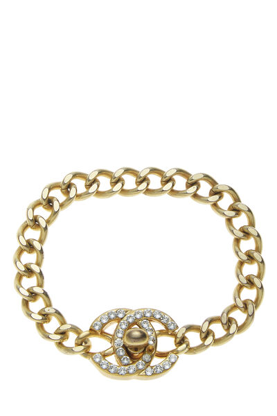 Gold & Crystal 'CC' Turnlock Bracelet Small