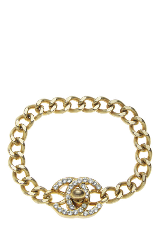 Gold & Crystal 'CC' Turnlock Bracelet Small, , large image number 0