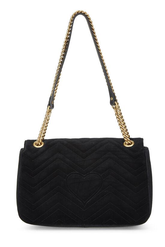 Black Velvet GG Marmont Loved Shoulder Bag, , large image number 3