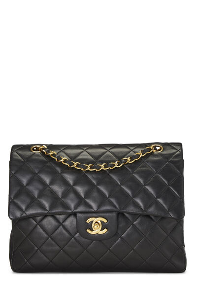 Black Quilted Lambskin Classic Double Flap Tall Medium