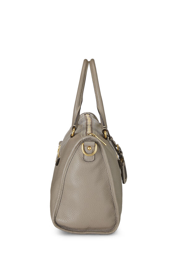 Grey Vitello Daino Boston Bag, , large image number 2