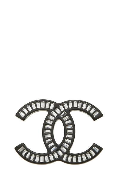 Black Acrylic 'CC' Pin Large