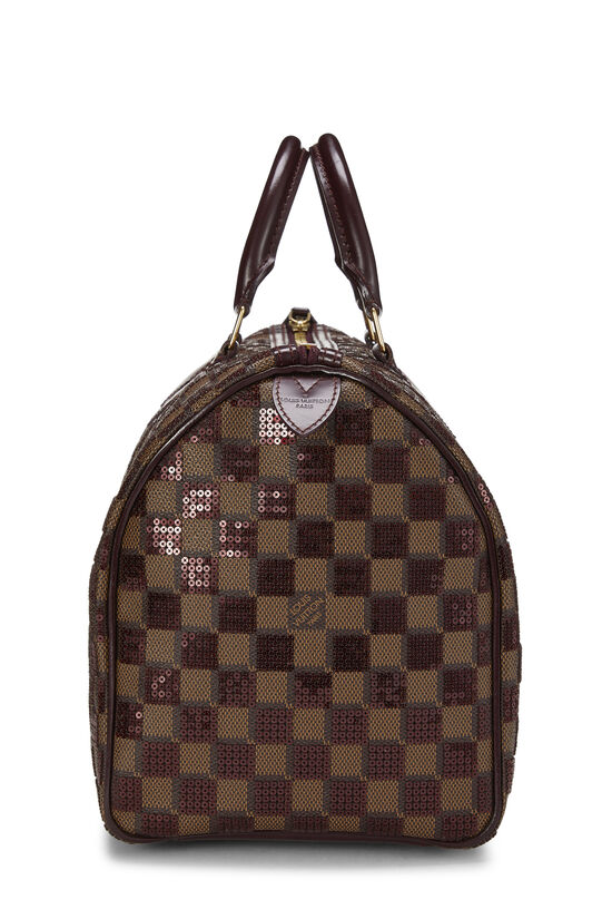 Red Damier Paillettes Speedy 30, , large image number 2