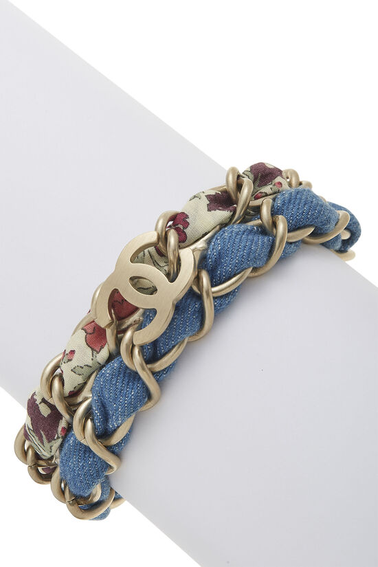 Gold Woven Chain 'CC' Bracelet, , large image number 0