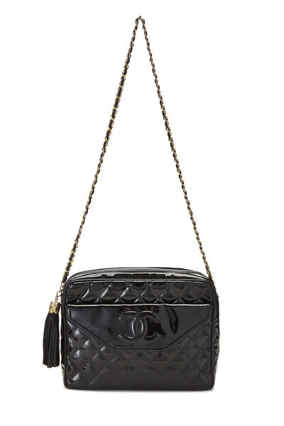 Black Patent Leather Pocket Camera Bag Medium, , large