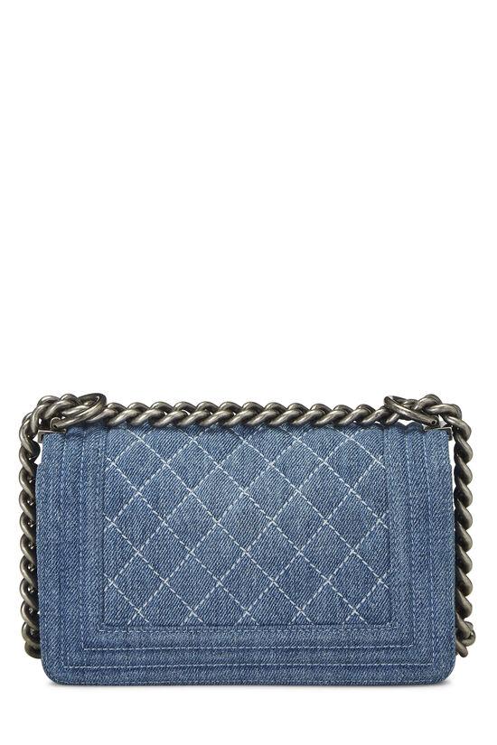 Blue Quilted Denim Boy Bag Small, , large image number 4