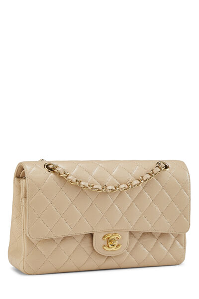 Beige Quilted Caviar Classic Double Flap Medium, , large